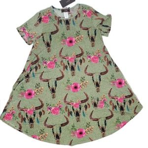 Lucky and Blessed NWT floral cow skull dress small
